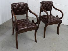 Pair of scroll open arm leather chairs - 2 late 20 th C Regency style sabre leg Sang de Beouf
