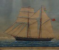 Franco Moralis Moya (?) XIX Marine School Watercolour Portrait of the ship, ' Lord Devon ' '