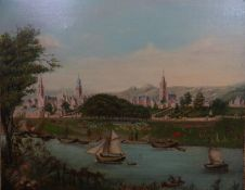 Indistinctly signed XVIII-XIX Military School Oil on canvas Redcoats training in formation on the