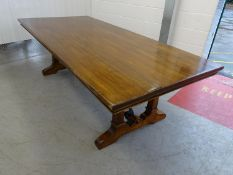 10 seat Continental large walnut and Iron Table - a late 20 th C twin pedestal ended and iron