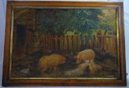 XIX- XX Agricultural / Farming School I Bahr ' 11 ' Watercolour and gouache Pigs with their