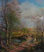 D Bishop mid XX Oil on board ? April Sunshine ', a late afternoon on a stone bridge Signed lower