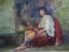 Cattermole XIX Orientalist School Watercolour A seated Lute player beside an Ottoman table etc.
