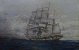 George William D?Acy-Evans XIX( Marine School) Oil on canvas ? Glass Falling ? , a 4 mast Barque