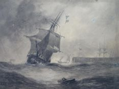 Charles Arthur Lodder ( act. 1842-1885) Marine School Grisaille A two masted sailing ship (