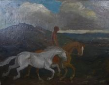 Circle of Jack Butler Yeats (1871-1957) Irish Oil on canvas, c. 1925 Figure riding a Chestnut