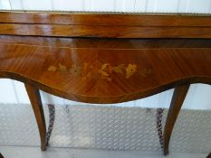 French Serpentine Card table - A 19 th C Louis XV style French inlaid King wood , rosewood and brass