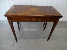 19 th C Rosewood Card table - a late 19 th C inlaid Rosewood card table with fold over top and