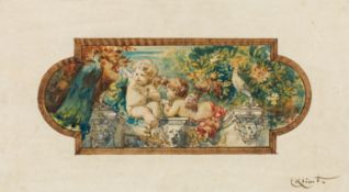 Ernst Klimt, Zwei Putti mit Pfau und Taube auf einer Balustrade