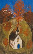Alfons Walde, Kleine Kirche mit Herbstbäumen