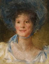 Josef Engelhart, Mädchen mit Sommerhut