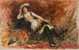 Josef Engelhart, Dame auf einem Bärenfell sitzend