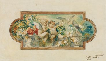 Ernst Klimt, Zwei Putti mit Tauben auf einer Balustrade
