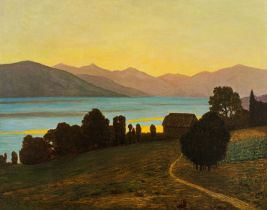 Eduard Kasparides, Abendstimmung am See (wohl Attersee)