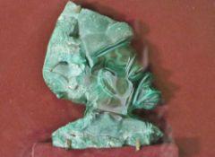 Reliefbüste eines Afrikaners, Malachit, 20. Jh.