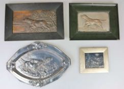 Konvolut Reliefbilder mit Setterdekor, 4 Stück, 20. Jh.