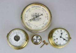 Konvolut Wetter: Chronometer, Hygrometer, Barometer.