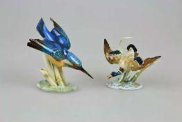 Hutschenreuther 2 Porzellanfiguren Eisvogel und Ente