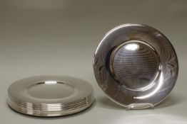 10 Platzteller, versilbert, Wilkens, moderne, glatte Form, ø 30 cm