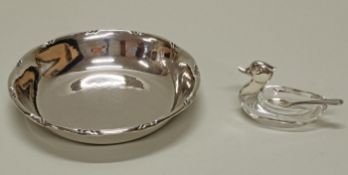 """Gewürzschälchen, """"Ente"""" mit Löffelchen, Silber 835, Korpus aus Kristallglas, 5 cm hoch; Schälch"""