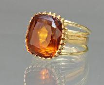 Ring, GG 750, Citrin, 15 x 12 mm, Antikschliff, 9.9 g, RM 17.5