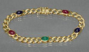 Panzerarmband, GG 750, 2 Rubin-, 2 Saphir-, 1 Smaragd-Cabochon, 20.5 cm lang, 34 g