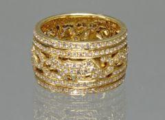 Ring, 'Panther', drehbares Mittelteil, GG 750, rundherum ausgefasst mit Brillanten zus. ca. 1.96 ct