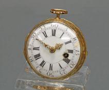 Spindeltaschenuhr, auf dem Werk bez. Jn. (?) Le Roy Paris, 18. Jh., GG 750, Email-Zifferblatt (Ausb