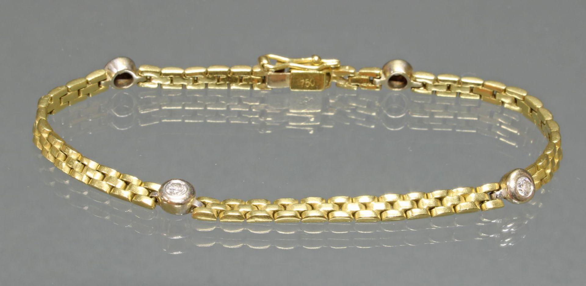 Armband, WG/GG 750, 4 Brillanten zus. ca. 0.40 ct., 19 cm lang, 13 g