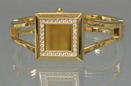 Modeschmuck-Armreif, mit versteckter Uhr 'Focus', Quarz, Diamant-Imitation, weißes Zifferblatt, ar