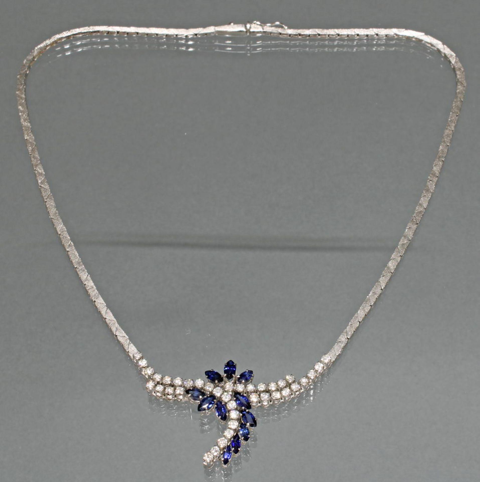 Collier, WG 585, 37 Brillanten zus. ca. 1.85 ct., 11 Saphire im Navetteschliff, 43 cm lang, 28 g - Bild 2 aus 2