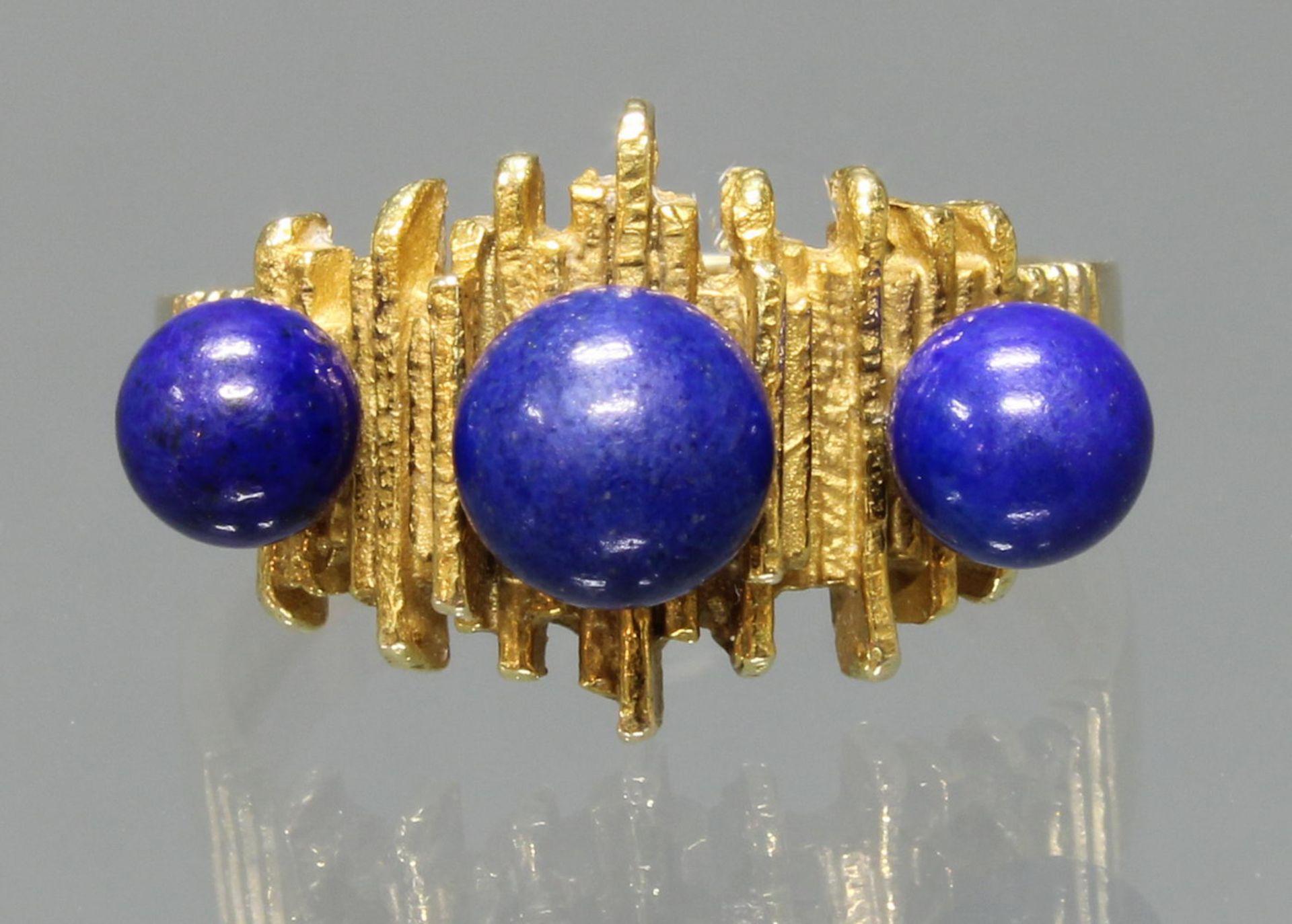 Ring, GG 585, 3 Lapislazuli-Kugeln, 6 g, RM 17.5