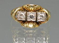 Ring, WG/GG 585, 3 Brillanten zus. ca. 0.30 ct., 4 g, RM 17