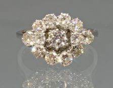 Ring, WG 750, 13 Brillanten zus. ca. 1.61 ct., etwa w/vsi, 3 g, RM 18