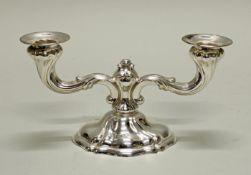 Tischleuchter, Silber 925, Emil Hermann, gedrehte Züge, zweiflammig, geschwert, 10.3 cm