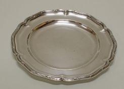 Teller, Silber 800, Wilkens, passig-geschweift, Kreuzband-Rand, ø 24.5 cm, ca. 522 g