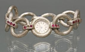 Damenarmbanduhr, L.U. Chopard, WG 750, Handaufzug, Gehäuse-Nr. 74222, cremefarbenes Zifferblatt, S