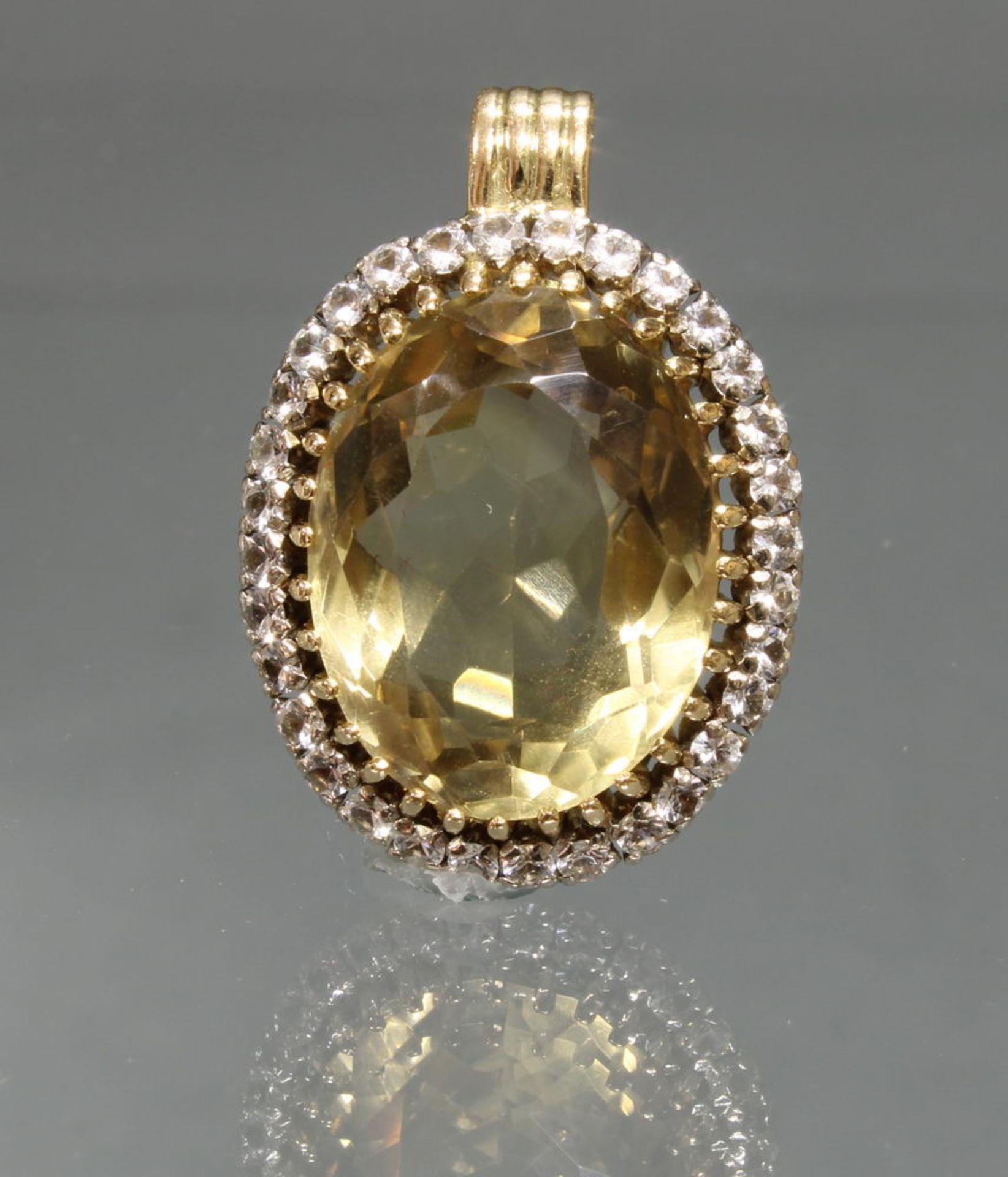 Anhänger, WG/GG 585, 32 8/8-Diamanten, 1 oval facettierter Citrin, 11 g