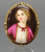 Brosche, Ende 19. Jh., Miniaturmalerei, 'Mädchen', Fassung Metall, 5.5 x 4.5 cm, 14 g