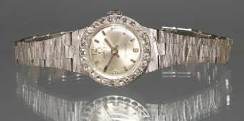Schmuck-Damenarmbanduhr, Omega, 1980er Jahre, WG 750, Diamant-Lünette, Handaufzug, silberfarbenes