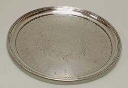 Tablett, Silber 800, 1886-1922, Spiegel mit rocaillierter Kartusche geschmückt, Profilrand, 2 cm h