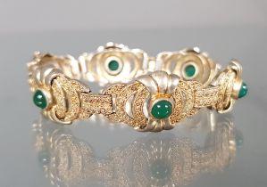 Armband, 1930er Jahre, gepunzt Fahrner, TF im Kreis, Silber vergoldet, 6 grüne Farbsteine, 18 cm la