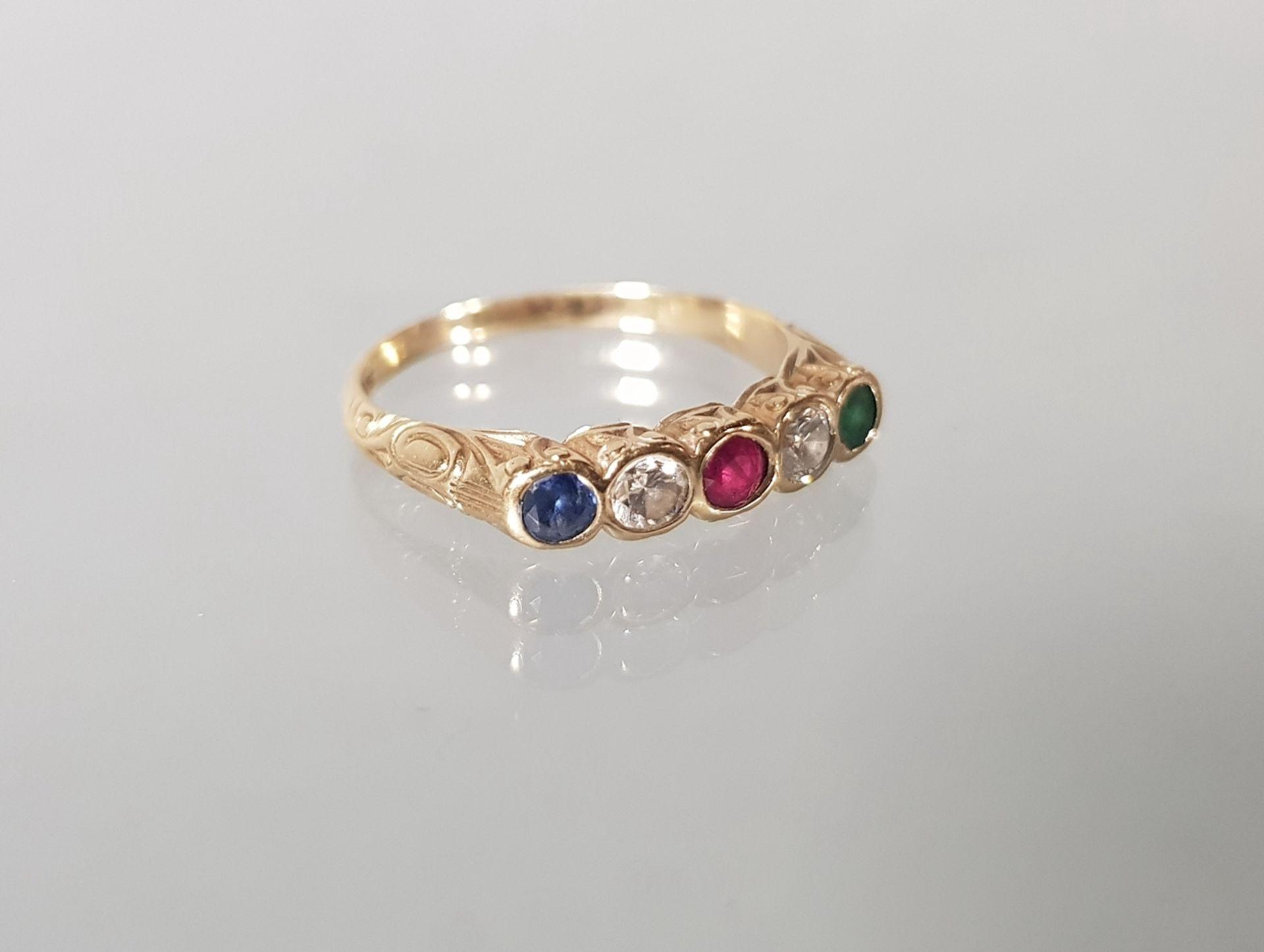 Ring, 1950er/60er Jahre, GG 585, Saphir, Rubin, Smaragd und 2 Brillanten zus. ca. 0.20 ct., 3 g, RM
