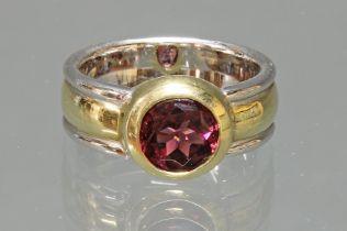 Ring, modernes Design, WG/GG 585, 1 runder facettierter pinkfarbener Turmalin, 11 g, RM 18