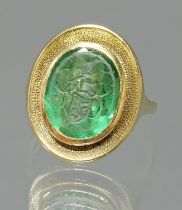 Siegelring, mit Wappenintaglio, GG 585, grüner Turmalin, 5 g, RM 15.5