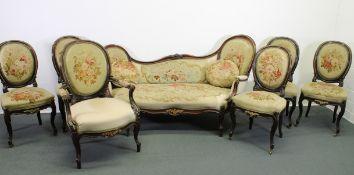 Sitzgruppe, im Barock-Stil, um 1870/80, fünf Stühle, ein Fauteuil, ein Récamiere, Rückenlehnen in M