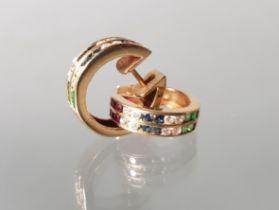 Paar Creolen, GG 585, Rubine, Smaragde, Saphire und Brillanten, ø 15 mm, 5 g