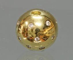 Perlenkettenschließe/Kugelbajonette, GG 750, Brillantbesatz als Sternenhimmel, 7 g