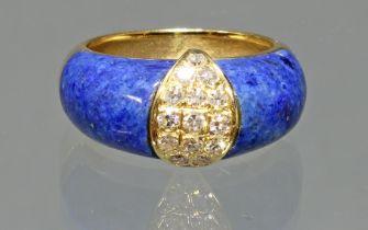 Ring, GG 750, 15 Brillanten zus. ca. 0.45 ct., Lapislazuli, 7 g, RM 16