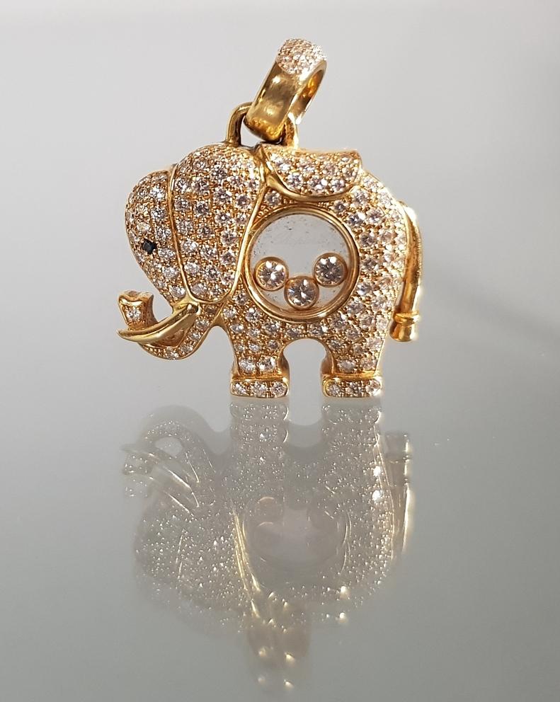 'Happy Diamonds'-Anhänger, 'Elefant', signiert und nummeriert Chopard Nr. 9253316/79/2251-20, GG 75
